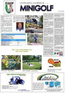 Giornalino Parliamo di Minigolf - numero 2 Anno 2017