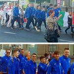 Nazionale italiana Junior sfila all'apertura del Campionati Europei di Liepaja 2019